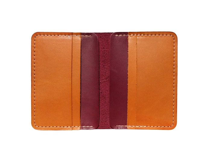 Red & Brown Vertical Bifold Wallet