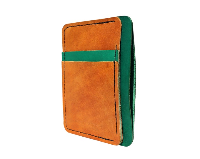 Green and Brown Leather Front Pocket Wallet