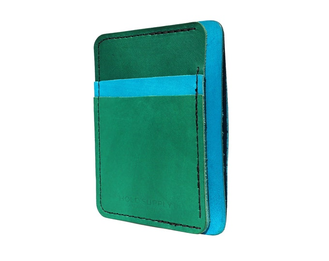 Blue and Green Leather Front Pocket Wallet