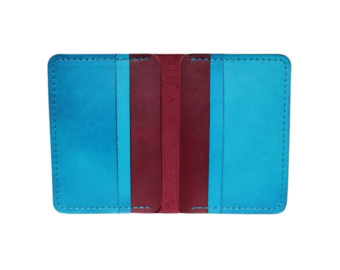Red & Blue Vertical Bifold Wallet