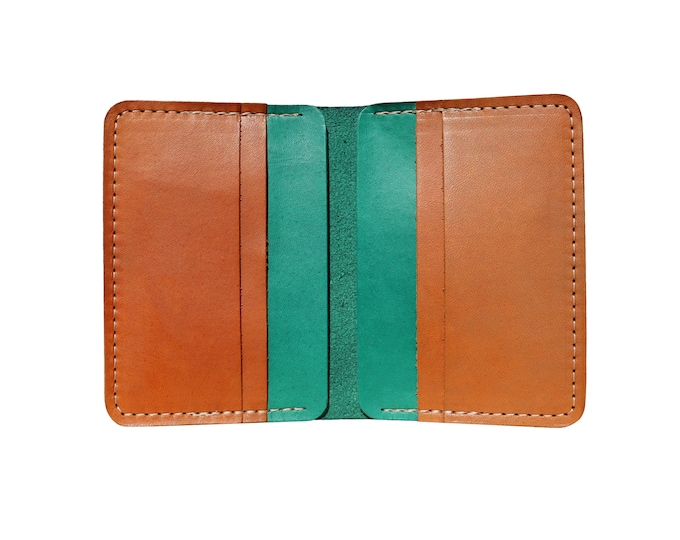 Green & Brown Vertical Bifold Wallet