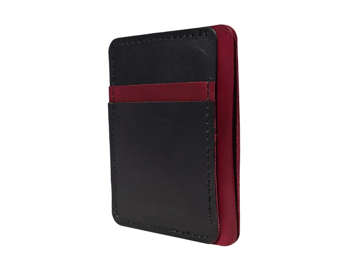 Red and Black Leather Front Pocket Wallet