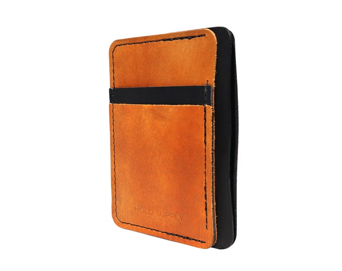 Black and Brown Leather Front Pocket Wallet