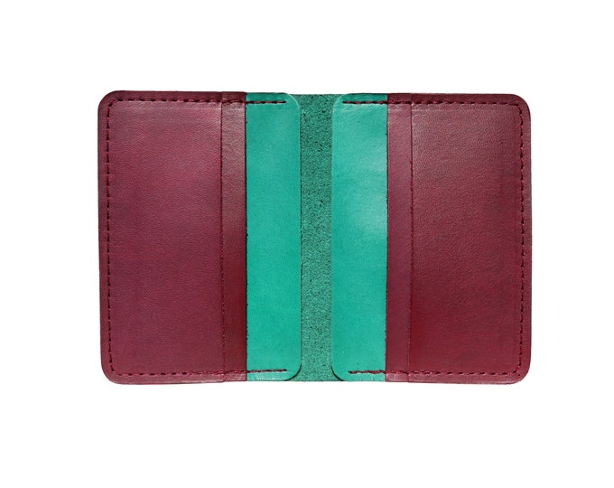 Red & Green Vertical Bifold Wallet