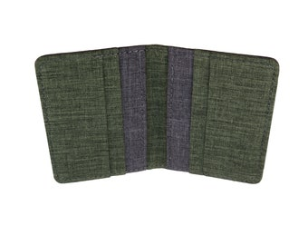 Green and Gray Polyester Vertical Bifold Wallet