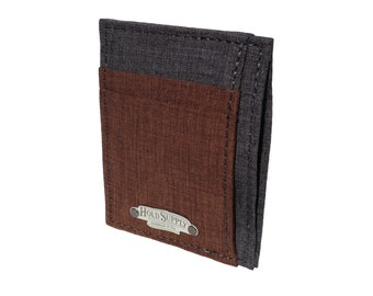Brown and Gray Polyester Front Pocket Wallet