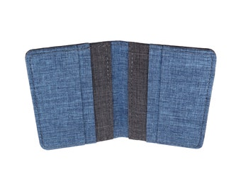 Blue and Gray Polyester Vertical Bifold Wallet