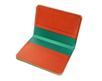 Green and Brown Vertical Leather Bifold Wallet