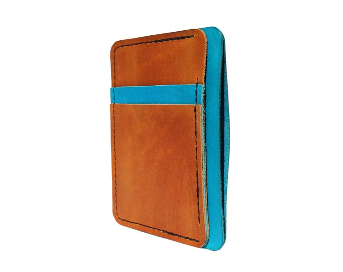 Blue and Brown Leather Front Pocket Wallet