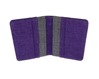 Purple and Gray Polyester Vertical Bifold Wallet