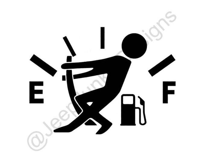 Gas Gauge Stick Figure Jeep Vinyl Decal
