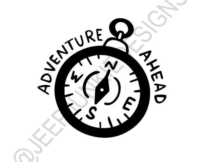 Adventure Ahead Compass - Vinyl Decal