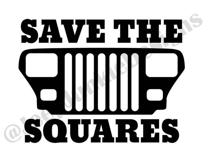 Save the Squares YJ Vinyl Decal