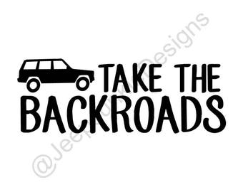 Take the Backroads Jeep Cherokee Sticker