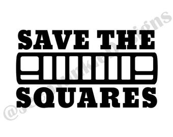 Save the Squares XJ Vinyl Decal