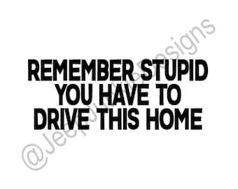Remember Stupid, You Have to Drive This Home - Jeep Custom Vinyl Decals