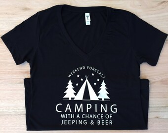 Weekend Forecast: Camping, Jeeping & Beer V Neck Tee