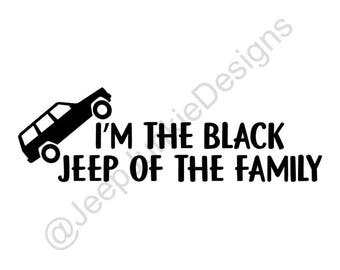 Black Jeep of the Family - Jeep Cherokee XJ - Custom Vinyl Decals