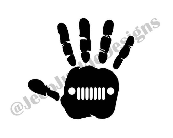 Jeep Wave Hand Print Vinyl Decal
