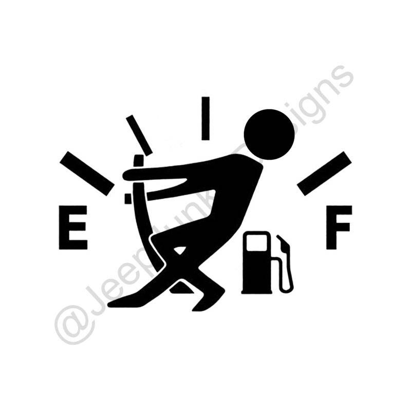 Gas Gauge Stick Figure Jeep Vinyl Decal Jeep Sticker Jeep