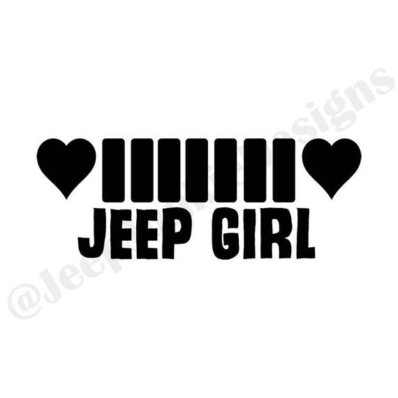 Jeep Girl Heart Grill - Custom Vinyl Decals
