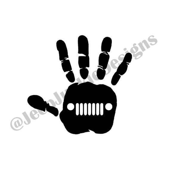 Jeep Wave Hand Print - Custom Vinyl Decals