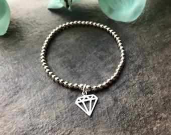 Diamond stretch bracelet, ladies bracelet, diamond charm, gift