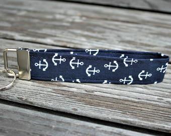 Lanyard anchor key ring dark blue anchor maritim key chain