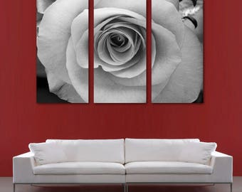 Black White Rose Flower Canvas Print Wall Art