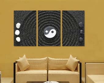 Amazing Yin Yang, Zen Wall Art Canvas Print   3 Panel Split, Triptych. Gray, White Wall  Decor, Home Decor, Living Room Decoration, Interior Design