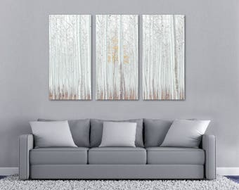 White Birch Tree Forest Canvas Print Wall Art