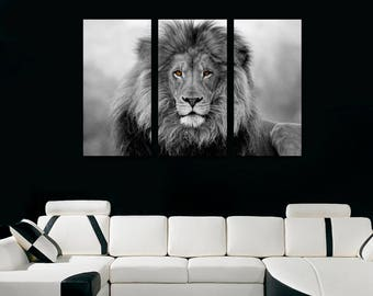 African Lion Wall Art Canvas Print Black White