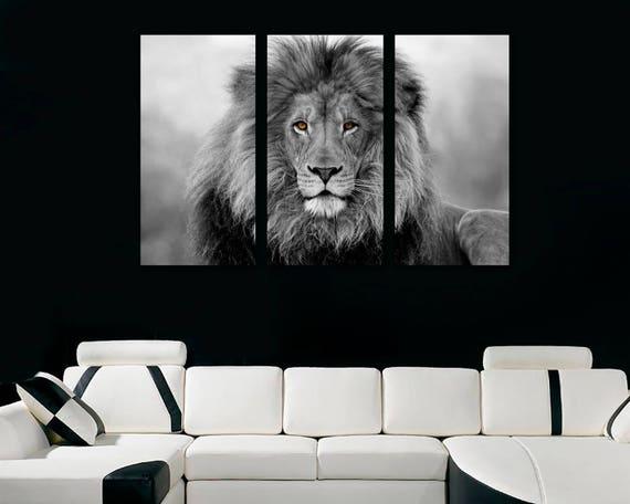 African Lion Wall Art Canvas Print Black White 3 Panel