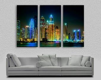 Dubai Night Skylline Canvas Print  Wall Art - 3 Panel Split, Triptych. Wall Decor, Home Decor, Living Room decoration, Interior design