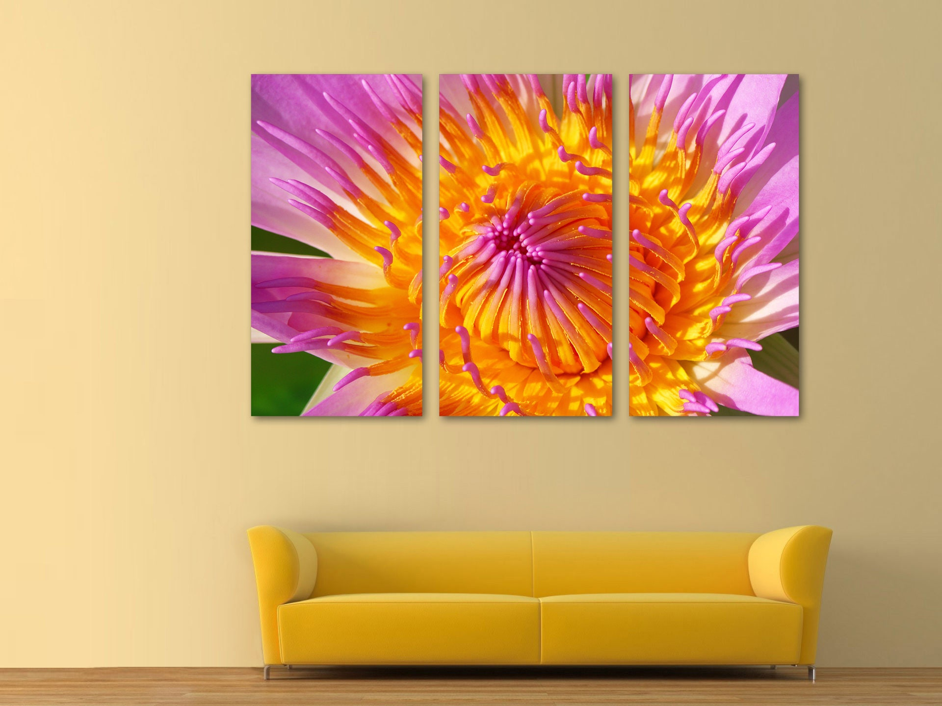 Colorful Dahlia Canvas Print 3 Panel Split Triptych Wall | Etsy