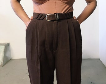 vintage 80s high waist wide leg brown pants // 26