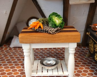1:12 Scale Natural Finish Small Wooden Butchers Table Tumdee Dolls House Block
