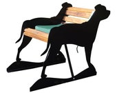 Metal and Wood Staffordshire Bull Terrier Bench Bull Terrier Pet Memorial Staffordshire Terrier Custom Bench Front Porch Bench