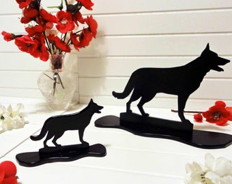 German Shepherd (Alsatian) Black Metal Silhouette Dog Ornament by Sityu. A Unique Gift or Present For German Shepherd Lovers.