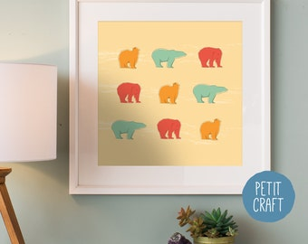 Nursery Animal Art, Polar Bear, Animal Print, Digital Download