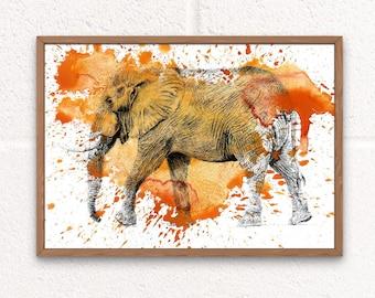 Elephant Art Print, Animal Lover Gift for Home, Wildlife Home Decor, Bright Animal Prints, Elephant Gifts, Orange Elephant Digital Prints