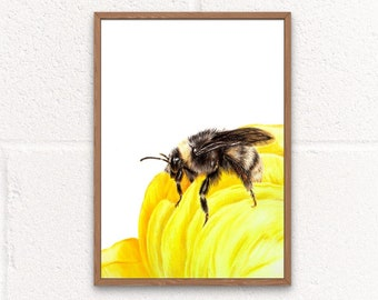 Bee Art Print, Bee Nursery Decor, Honey Bee Decor, Bee Gifts for Friends, Bumble bee Print, Beekeeping Gifts for Women, Spring Decorations