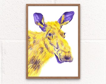 Moose Printable Wall Art, Canadian Wildlife Art, Moose Gifts for Kids, Animal Kids Room Digital Print, Wildlife Lover Gifts, Moose Decor