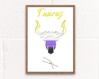 Nonbinary Taurus Digital Print, Taurus Birthday Gift, Nonbinary gifts, Nonbinary Flag, Zodiac Sign, Nonbinary Pride, Taurus Wall Art