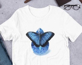Gemstone tshirt, September Birthstone Gift for Her, Butterfly t-shirt, Butterfly Gift for Women, Crystal shirt for birthday, September Shirt
