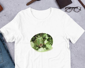 Gemstone tshirt, August Birthstone Gift for Her, Insect t-shirt, Insect Gifts for Women, Crystal shirt for birthday, Peridot Shirt