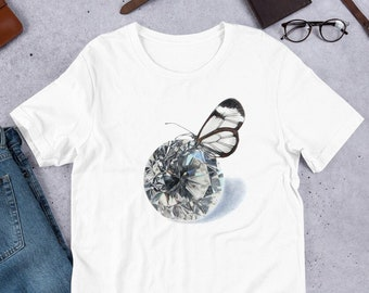 Gemstone tshirt, April Birthstone Gift for Her, Butterfly t-shirt, Butterfly Gifts for Women, Crystal shirt for birthday, Diamond Shirt