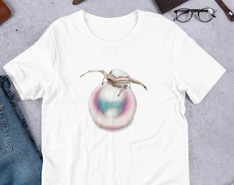 Gemstone tshirt, June Birthstone Gift for Her, spider t-shirt, spider Gifts for Women, Crystal shirt for birthday, Pearl Shirt