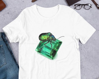 Gemstone tshirt, May Birthstone Gift for Her, Beetle t-shirt, Beetle Gifts for Women, Crystal shirt for birthday, May Shirt