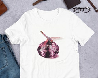 Gemstone shirt, February Birthday Gift for Her, Dragonfly tshirt, Insect Gifts for Sister, Crystal shirt for mom, Amethyst Shirt for friend
